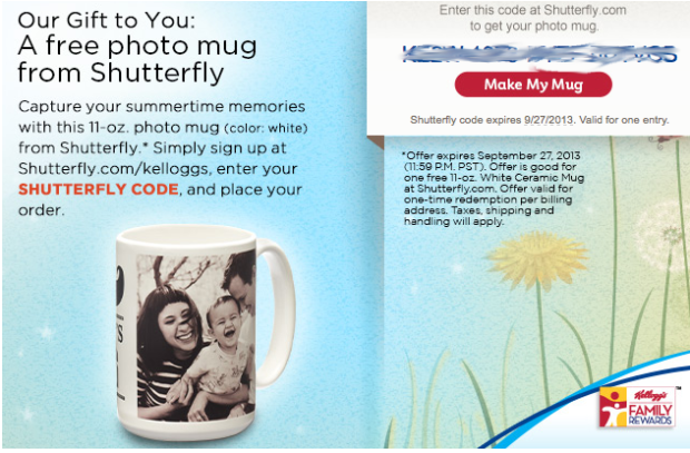 screen shot 2013 08 07 at 1 45 20 pm Kellogg's Family Rewards Members: Free Photo Mug from Shutterfly – Just Pay Shipping (Check Your Inbox!)