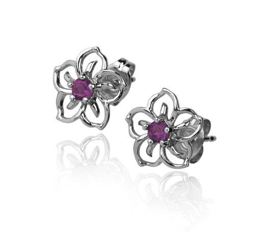 414+GjU8u L Amazon: Sterling Silver & Amethyst Flower Earrings Only $12.00 (Reg. $34.99)