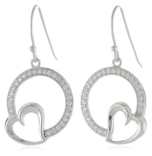 81oM1r 9uyL. SY500  Amazon: Sterling Silver Simulated Diamond Open Circle Dangle Earrings Only $29.00 Shipped (Reg. $59.99)
