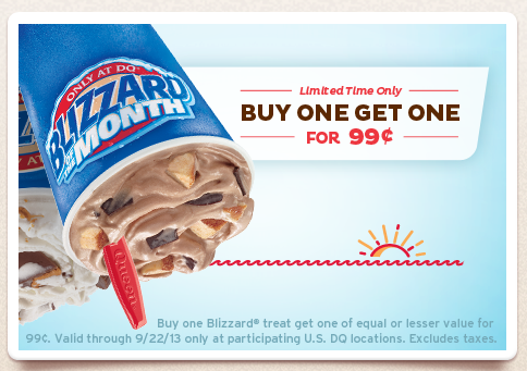 Screen Shot 2013 09 05 at 9.56.38 PM Dairy Queen: Buy 1 Blizzard Treat, Get 1 FREE!