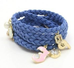 Screen shot 2013 09 04 at 12.21.08 AM *HOT* Juicy Couture Inspired Blue Leather Woven Bracelet with Charms $1.20 + FREE shipping!