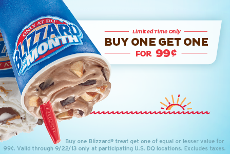 September BOGO Promo Dairy Queen: Buy 1, Get 1 $0.99 Blizzards (Through 9/22)!