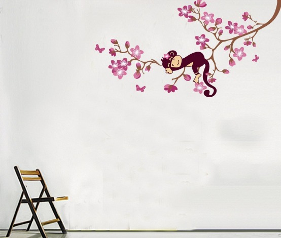 Unique Amazon has this SUPER cute Sleeping Monkey in the Tree Vinyl Wall Decal for just FREE shipping I have some of these on Miley us wall and love them