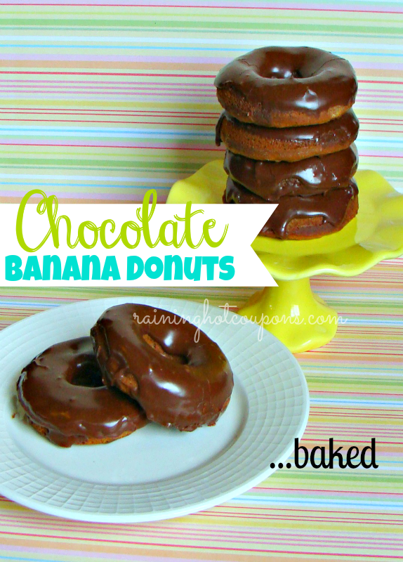 Baked Chocolate Banana Donuts with Chocolate Glaze