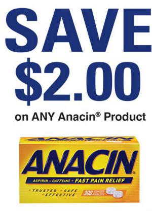Anacin Aspirin Coupons