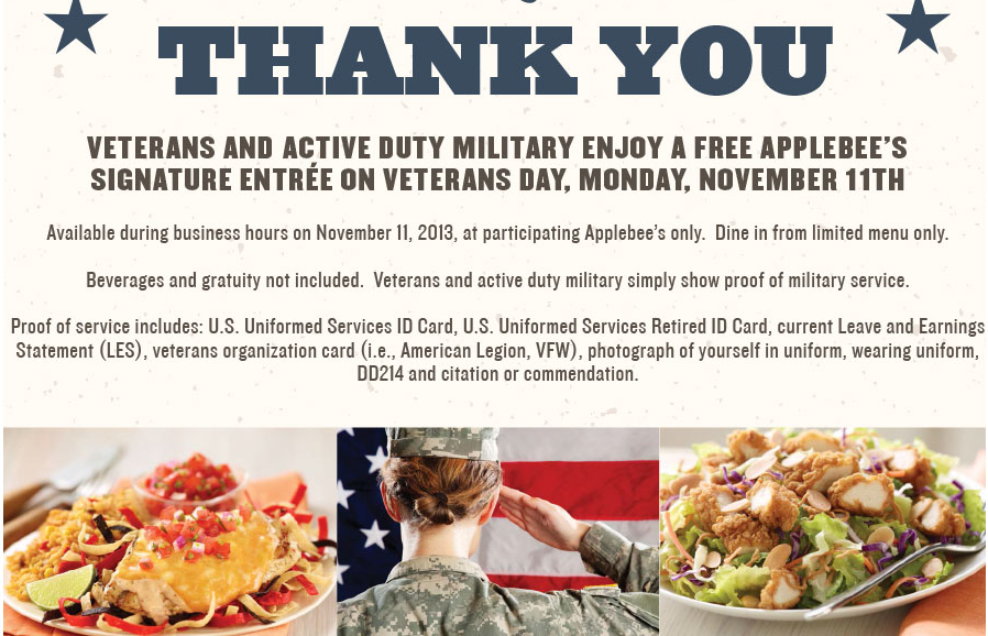 free meal at applebee u2019s for active and veteran military