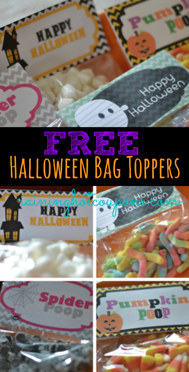 halloween bag toppers FREE Halloween Bag Toppers from Raining Hot Coupons! (Pumpkin Poop, Spider Poop, Happy Halloween and more!)