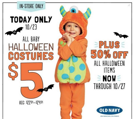 *HOT* Old Navy: ALL Baby and Toddler Costumes Only $5 (Reg. $25!) TODAY Only!!