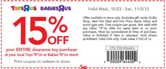 15 coupon babies r us