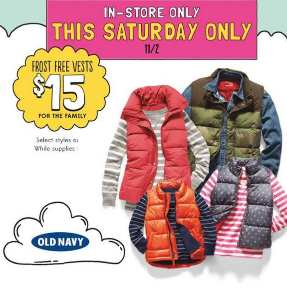 Old Navy: Frost Free Vests Only $15 (Reg. $40) Adults and Childrens!