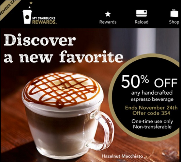 Starbucks: 50% Off ANY Handcrafted Espresso Drink (Select Members)