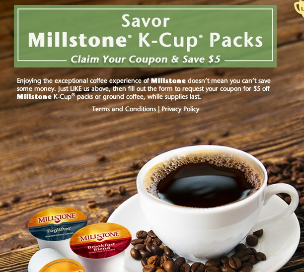 $5 off Millstone Coffee K Cup Packs Coupon (First 5,000!)