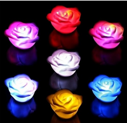 Hot Color Changing Led Rose Flower Night Light Candle