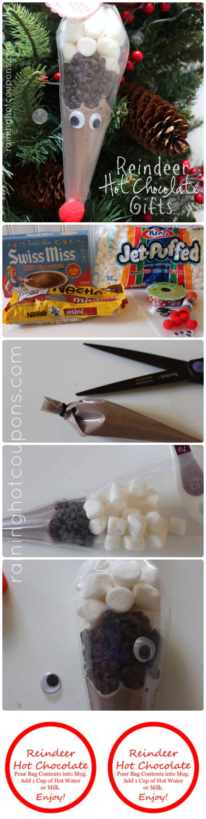 Reindeer Hot Chocolate Gifts + FREE Printable Gift Tag Labels!