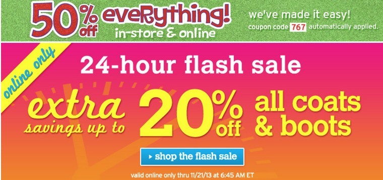 Justice: 50% Off Entire Site Flash Sale + Extra 20% off Boots and Coats!