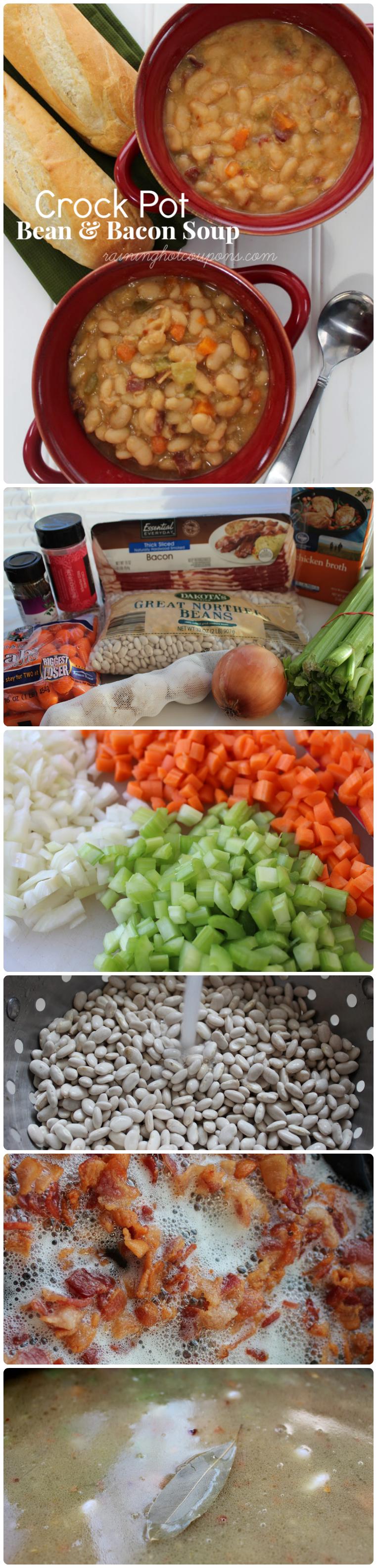 crock pot bean soup collage