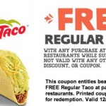 Del Taco: FREE Regular Taco at Del Taco with ANY Purchase Coupon!