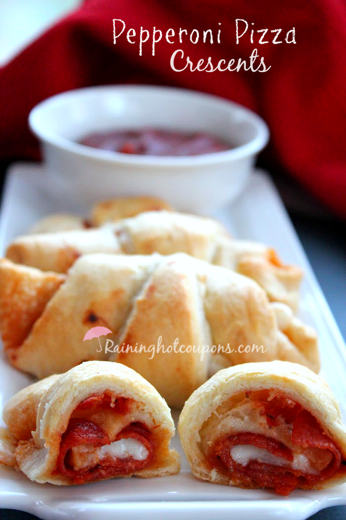 pepperoni pizza crescents, easy appetizers, pizza puffs