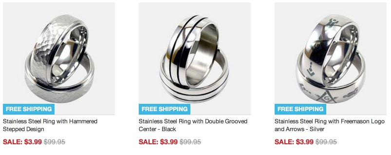 *HOT* Mens Stainless Steel Rings Only $3.99 + FREE Shipping