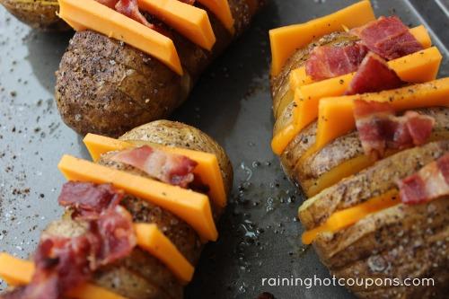 Loaded Sliced Baked Potatoes