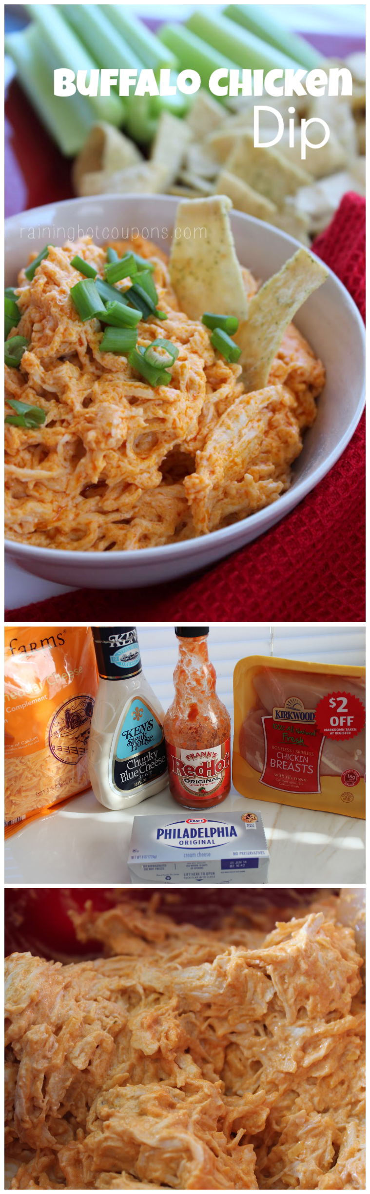 buffalo chicken dip collage