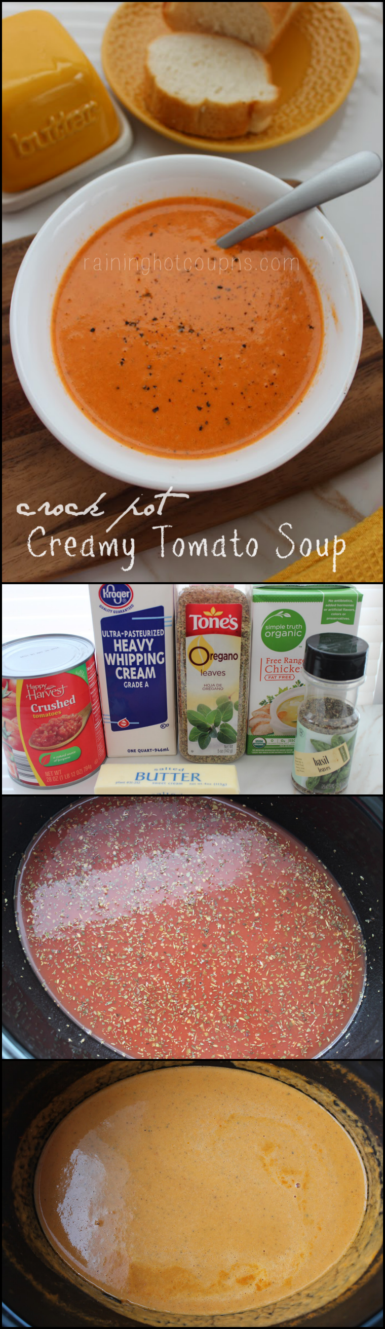 creamy tomato soup collage