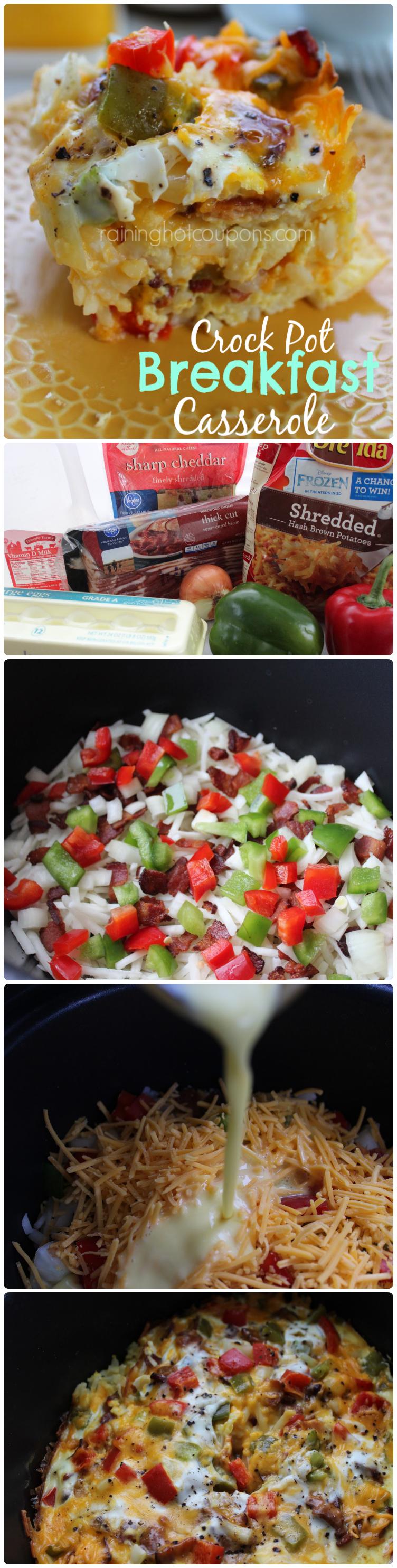 crock pot breakfast casserole collage