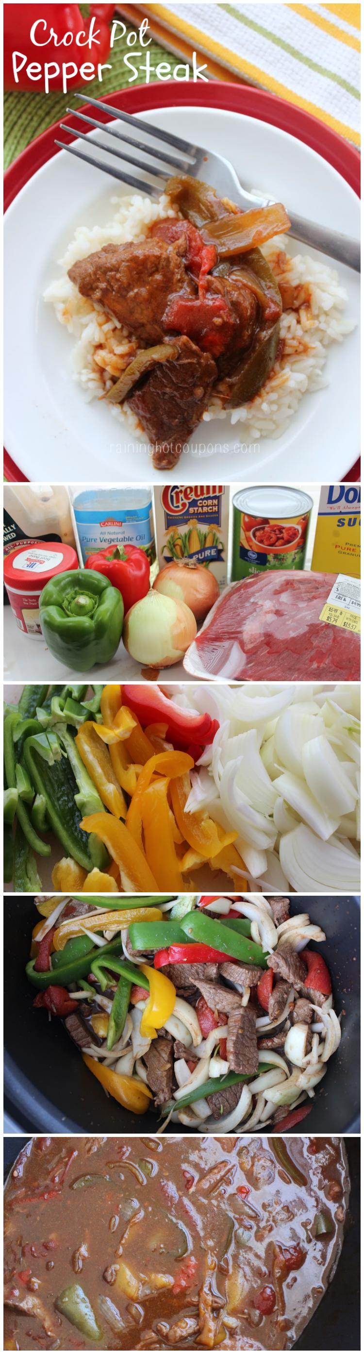 crock pot pepper steak collage