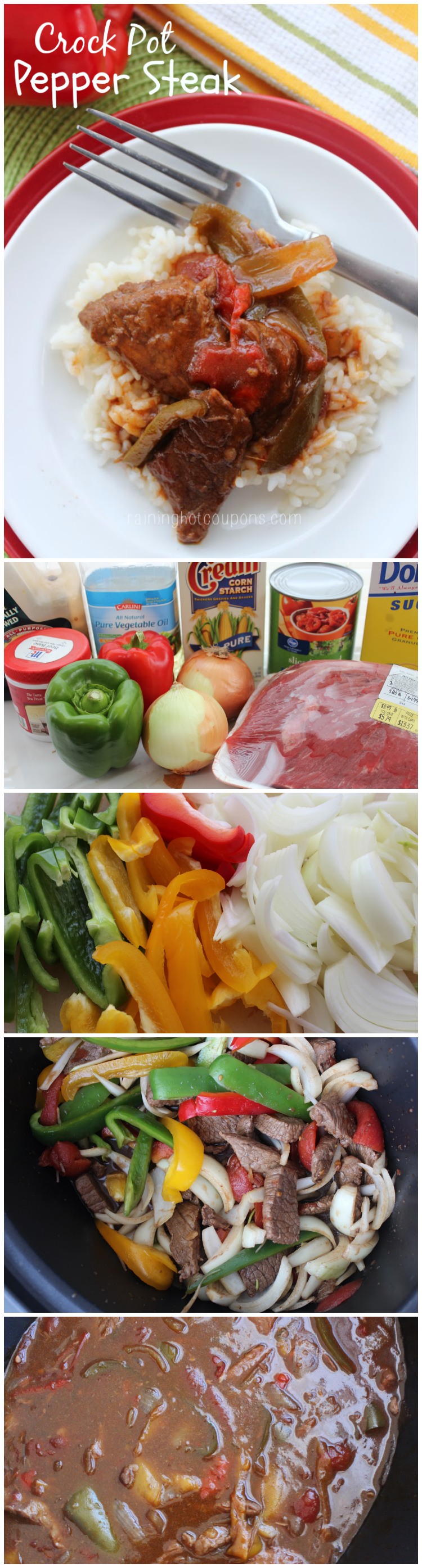crock pot pepper steak collage