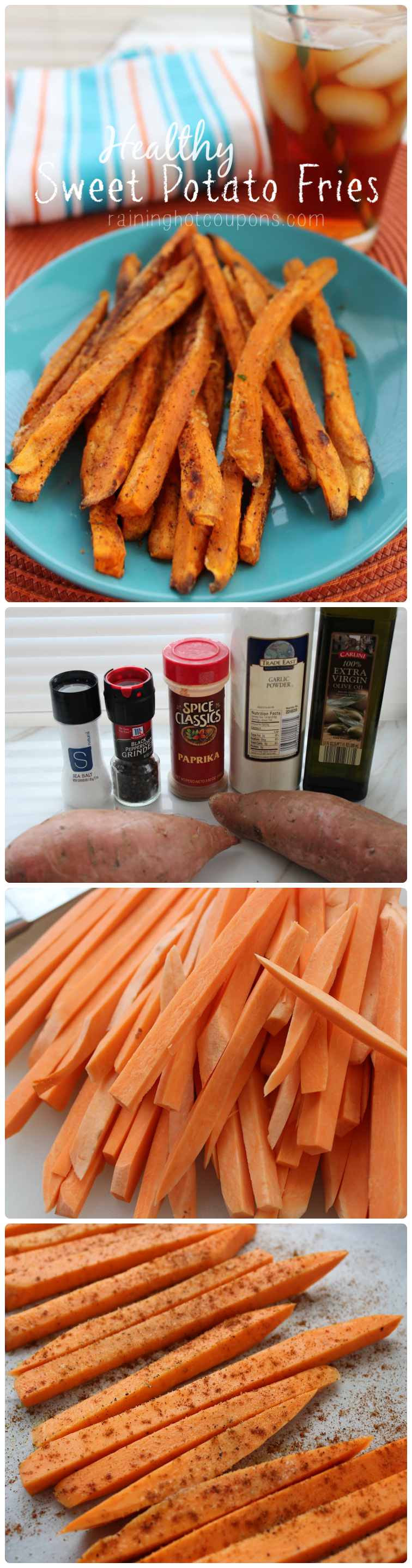 healthy sweet potato fries collage