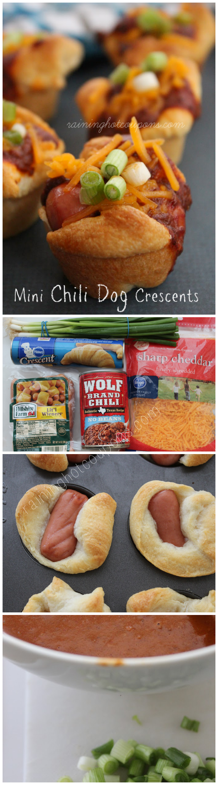 mini chili dog crescents collage