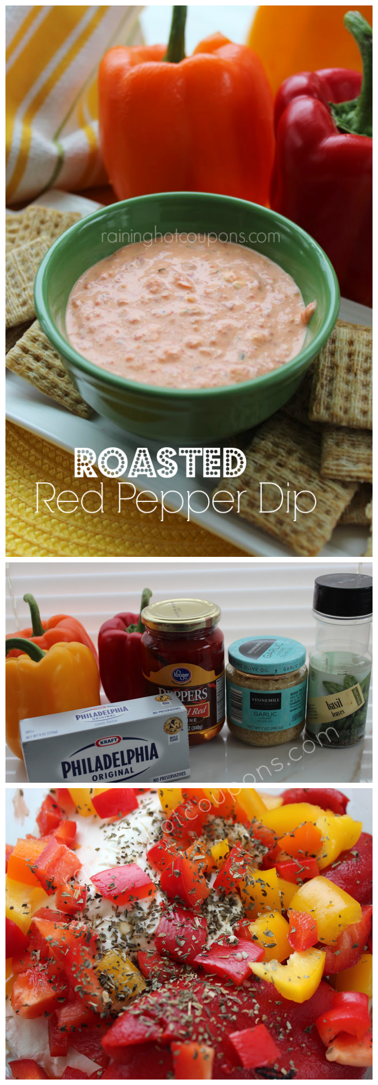 roasted red pepper dip collage