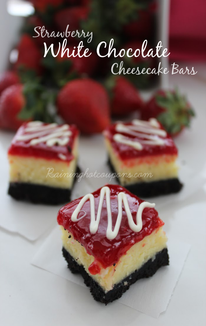 strawberry white chocolate cheesecake bars Strawberry White Chocolate Cheesecake Bars