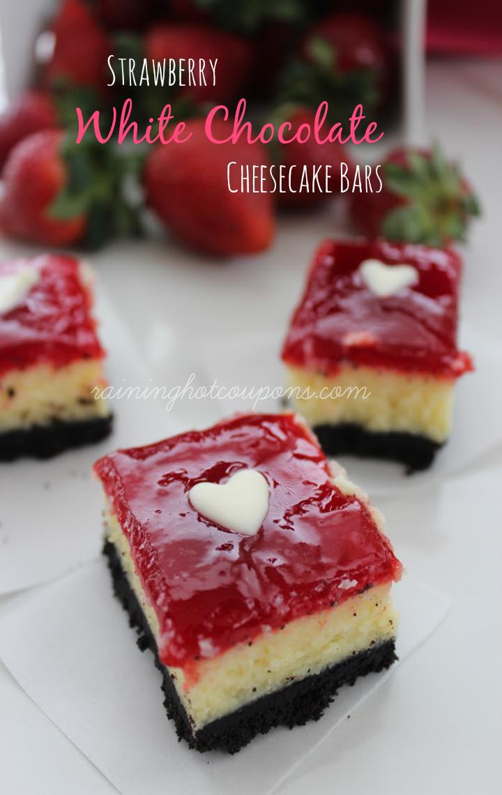 Strawberry White Chocolate Cheesecake Bars - Raining Hot Coupons