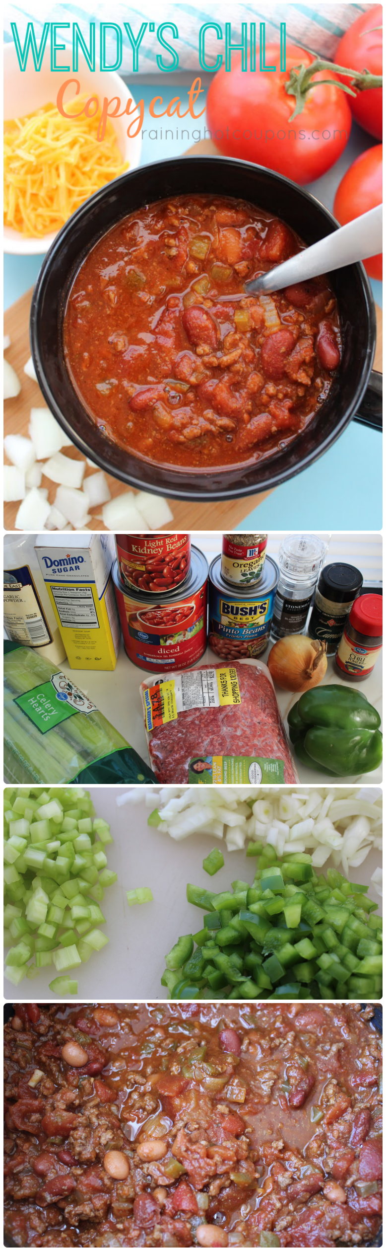 wendy's chili collage, copycat wendy's chili recipe, make Wendy's chili at home