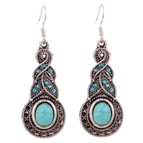71S5b6HIzFL. SY500  Silver and Turquoise Oval Shaped Earrings Only $4.18 Shipped (Reg. $19.99)!