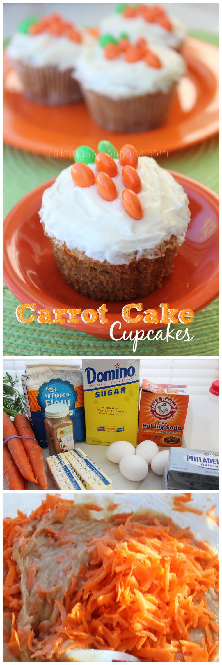 carrot cake cupcakes collage