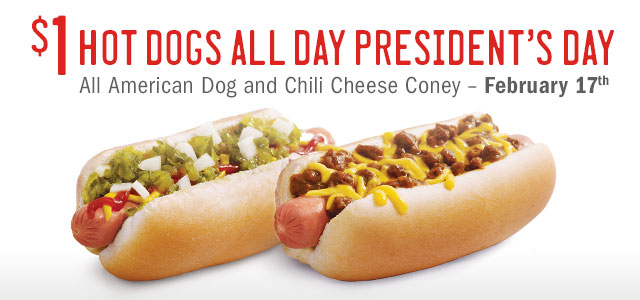 hot dogs Sonic: $1 All American Hot Dogs and Chili Cheese Coneys TODAY!