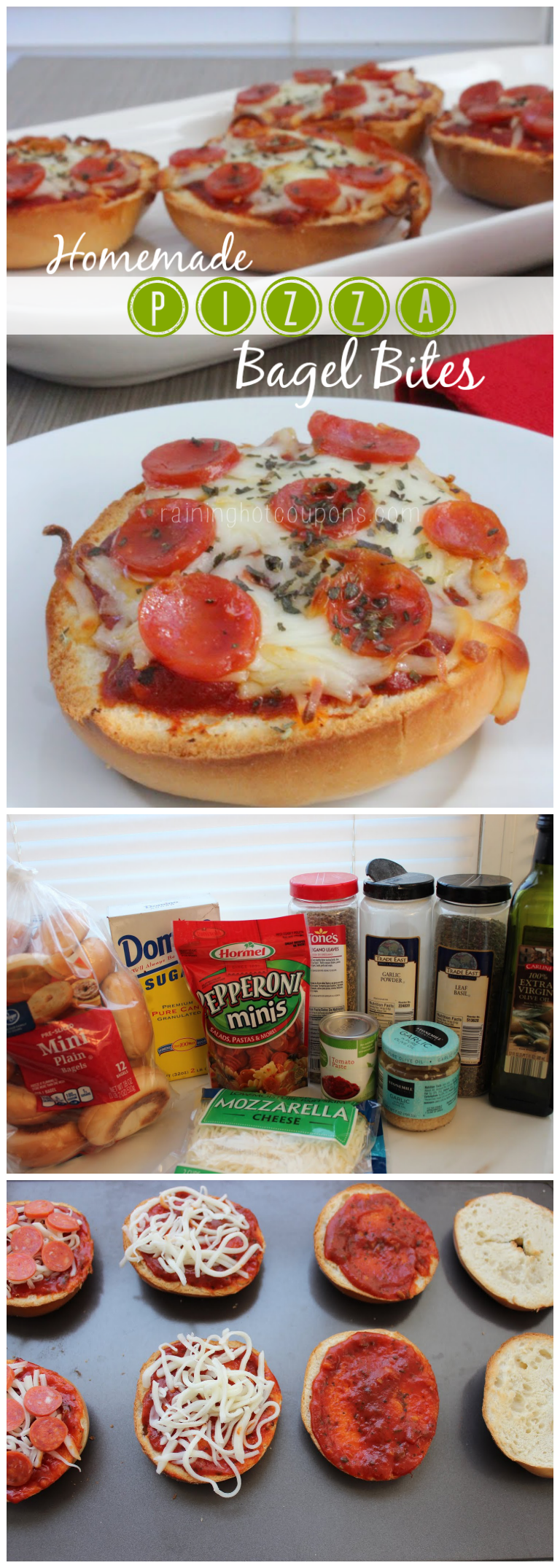 pizza bagel bites collage.png Homemade Garlic Pizza Bagel Bites