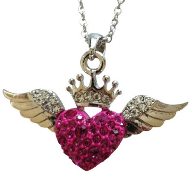 71AQlOVra+L. SX395  Amazon: Retro Inspired Crown Heart Wings Necklace Only $17.99 (Reg. $31.99)