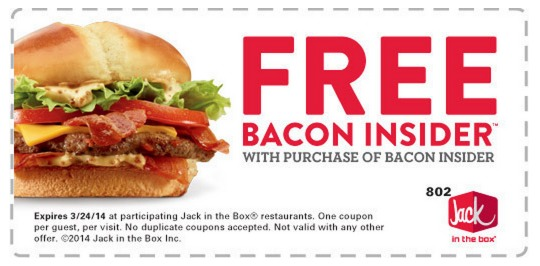 Jack In The Box: FREE Bacon Insider with the Purchase of a Bacon Insider!