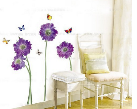 FLOWERS Purple Flower Butterfly Removable Quote Vinyl Wall Decals Only $2.69 + FREE Shipping
