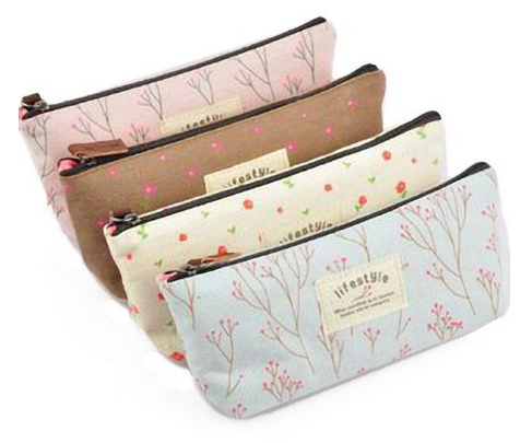 bags Set of 4 Canvas Pen Bag Pencil Cases in Different Colors Only $5.27 + FREE shipping = $1.32 each!