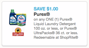 coupon7 *HOT* New Purex Coupon = Only $1.10 for a Bottle of Purex Liquid Laundry Detergent!