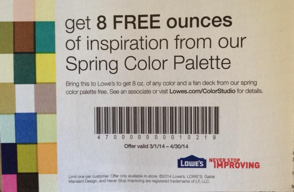 Lowe S FREE 8oz Spring Color Paint Palette Sample