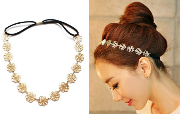 Amazon Rose Flower Elastic Gold Headband Only 0 94