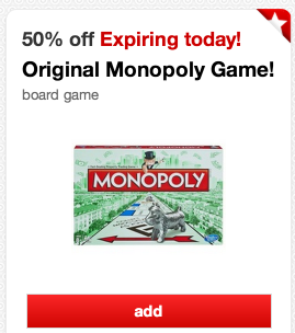 mono *HOT* Target: 50% Off Monopoly Game (TODAY ONLY) = $5.99!