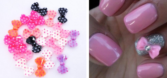 HOT 20 Piece Multiple Color 3D Bow Tie Nail Art Tips Only 091