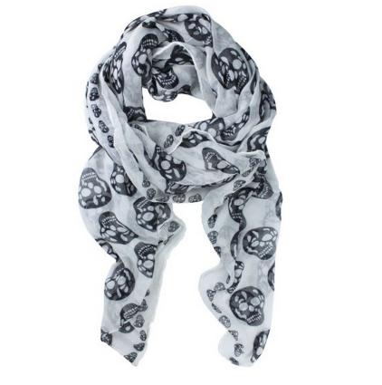 necklace  Womens Skull Print Long Shawl Scarf Only $2.99 + FREE Shipping!