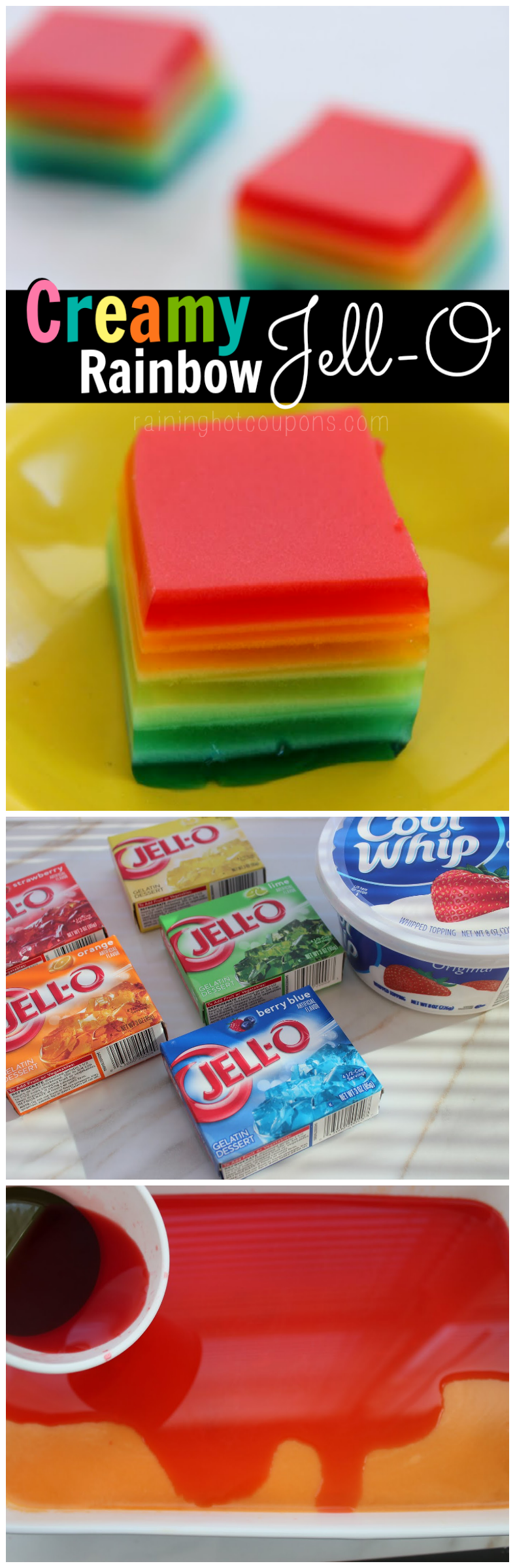 rainbow jello collage.png Creamy Rainbow Jell O
